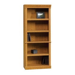 Sauder - Orchard Hills 5 Shelf Bookcase in Carolina Oa - 3 Adjustable shelves. Enclosed back panel has cord access. Patented slide-on moldings. Made of engineered wood. Assembly required. 29 in. W x 13 in. D x 71 in. H