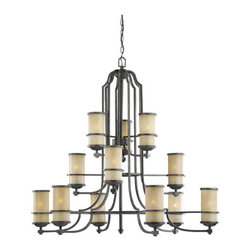 "Sea Gull Lighting - Sea Gull Lighting 31523 Wrought Iron Twelve Light Chandelier from the Roslyn Col - *Twelve Light Chandelier with Cr�me Parchment Glass with Flemish Bronze BandsIncludes 144"" of wire and 120"" of chainRequires 12 - Medium A - Line 60w Bulbs (Not Included)"