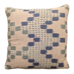 Villa Home - Modern Moroccan Pillow - An infusion of embroidered harmony and artistic expression, our Moroccan Pillows are an inspirational foundation to build around.  Soft hues of blue with a plush feather down insert, this throw is appealing and comfortable.