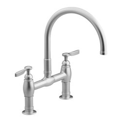 KOHLER - KOHLER K-6130-4-VS Parq Deck-Mount Kitchen Bridge Faucet - KOHLER K-6130-4-VS Parq Deck-Mount Kitchen Bridge Faucet in Stainless Steel