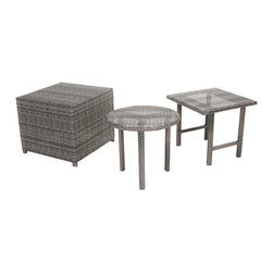 Great Deal Furniture - Laguna Grey Wicker Table Set - The Laguna wicker table set is a great addition to any outdoor setting, including poolside areas, balconies, and porches. This set features three unique wicker tables: a square top-table, a round top-table and one cube table that double as a stylish ottoman. All three are carefully woven with grey, thick wicker. These are great for serving snacks and beverages poolside, can be used for your outdoor storage needs, or for decorative ornamentation in your garden.