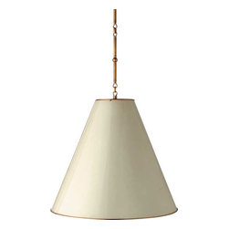Goodman Hanging Lamp - I fell in love with this pendant the first time I saw it. It comes in a few sizes and finishes, but the over-sized large one with the cream metal exterior and antique brass interior is my favorite. The brass interior gives the quality of light a warmer glow than usual. Great for over an island or dining table.