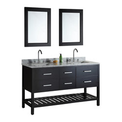 "Design Element - Design Element London 61"" Single Sink Vanity Set w/ Open Bottom - Espresso - The London 61"" Double Sink Vanity Set is constructed with solid wood and provides a contemporary design perfect for any bathroom remodel. The ample storage in this free-standing vanity set includes two flip-down shelves, four fully functional drawers each accented with brushed nickel hardware as well as an open shelf at the base of the cabinet. The cabinet is available in an espresso or white finish both as a complete set with a carrara white marble counter top and two matching framed mirrors."