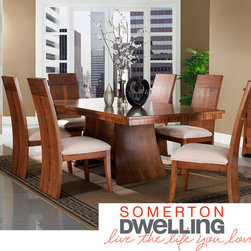Somerton Dwelling - Somerton Dwelling Milan Dining Table - This stunning modern dining table set provides the perfect setting for casual meals and formal dinners. Beautifully crafted from hardwood solids and veneers, this elegant set features an eye-catching arched design to create a more dramatic look.