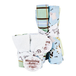 """Trend Lab - Bouquet Set - Baby Barnyard - Bib & Burp Cloth - Keep messes to a minimum with this stylish Baby Barnyard Bib and Burp Cloth Set by Trend Lab. Set includes four bibs and four burp cloths each with fun, modern printed cotton on the front and terry on the back. Bib and burp cloth patterns include: one barnyard animal scatter print in butter yellow, burnt orange, caramel, chocolate brown, pearl pink, bubblegum pink, and white on a sky blue background, one plaid print in chocolate brown, burnt orange, sky blue and cream on a sage background, one large white dot print on a butter yellow background and one with a white and blue ticking stripe. Each bib measures 9"""" x 13"""" with Velcro closure and each burp cloth measures 13"""" x 10""""."""