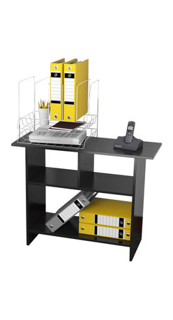 Convenience Concepts - Office Organizer Stand - Three separate storage areas. Plenty of shelving space. Spacious 31.5 in. top shelf. Limited warranty. Made from painted wood. Rich black wood grain finish. Assembly required. 31.5 in. W x 11.7 in. D x 24.2 in. H (24 lbs.)
