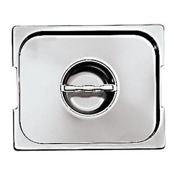 Paderno World Cuisine - 7 in. by 6 1/4 in. Stainless-steel Lid with Seal and Handles for Hotel Pan - This 7 in.  by 6 1/4 in.  stainless-steel hotel food pan lid with seal and handles is a standard size which fits on all standard hotel food pans. This standard was intended to rationalize the working processes in food industry operations by creating a high level of compatibility of kitchen equipment. All lids are stackable and have rounded reinforced edges. They are made of 21-gauge, 18/10 mirror-polished stainless-steel. They have seamless construction and are durable, corrosion-resistant and non-tarnishing. They do not react to any food and protect flavors. In addition to in-process control during manufacturing and fabrication, these metals have met the specifications developed by the American Society for Testing and Materials (ASTM) with regard to mechanical properties such as toughness and corrosion resistance. The Palermo series is a part of a lineage of cookware more than 80 years old. It is NSF approved.