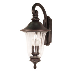 "Nuvo Lighting - Nuvo Lighting 60-979 Parisian 3-Light 27"" Wall Lantern Arm Down - Nuvo Lighting 60-979 Parisian 3-Light 27"" Wall Lantern Arm Down with Fluted Seed Glass"