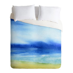 Watercolor Shores Duvet Cover - Tuck in at night with the fade-resistant Watercolor Shores Duvet Cover. This warm and cozy duvet cover is made to order with a six-color dye process and will be an amazing visual centerpiece for your bedroom.