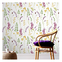 Graham & Brown - Bluebell Wallpaper - The bluebell showcases is the nation's favourite spring flower, delicately painted to fill the wall with allure, the colours will compliment your room with yellows, purple, blues and green, white background will give that clean and fresh look.