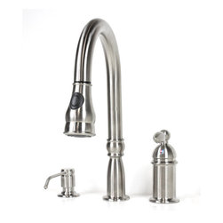 Allora - Allora Lead Free Pull Out Sprayer Kitchen Faucet with Soap Dispenser - Lead Free Pull-Out Sprayer Kitchen Faucet. Solid Brass Construction. Single Lever Operation. Single Hole Installation. Brushed Stainless Steel Finish. Lead Free AB 1953 Compliant with Free Matching Soap Dispenser