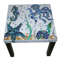 """Handmade sea creatures glass mosaic side table - 22"""" square black fiberboard side table with handmade glass mosaic sea creatures design. 18"""" height."""