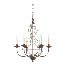 Quoizel Lighting - Quoizel LLA5006RA Laila Rustic Antique Bronze 6 Light Chandelier - 6, 60W B10 Candelabra