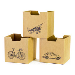 Quark Enterprises - City Print Cardboard Cubby Bins, 3-Pack - Sprout cardboard cubby bins offer simple, modern, and practical design. Made from recycled cardboard, these bins will help to organize your child's life. Designed for use in the Sprout Cubby, you can store books, toys and more in these fun storage bins. More economical than plastic and canvas bins, Sprout cubby bins feature fun graphic designs, and add a unique touch to any playroom, bedroom or nursery.