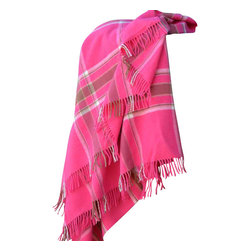 "Happy Blanket - Plaid Pink 100% Marino Wool Throw 51""  x 75"" - Wool is a natural temperature regulator, naturally hypoallergenic, naturally breathable and even improves sleep quality."