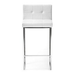 Cattelan Italia - Kate Stool | Cattelan Italia - Made in Italy by Cattelan Italia. Functionality embraces aesthetic regality in the design of this contemporary gem. A showcase of Italian workmanship, the Kate Stool features generously quilted seat and backrest wrapped in luxuriously soft leather. Square tufting detail lends the piece a simple yet elegant look. The absence of armrests gives a sense of openness, enabling unrestricted movement while seated. Though simple in style, the square solid steel feet add to the dining stool's chic factor.  Ideal in homes, restaurants, and bars. Complete the look with Cattelan Italia's Kate Lounge Chair and Kate Chair. Chair height, frame finish and leather options offered. Cover not removable.