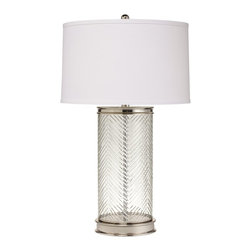 Kichler Lighting - Kichler Lighting 70869 Herringbone Transitional Table Lamp - This refined 1 light Herringbone portable table lamp features a distinctive polished nickel finish, Glass detailing and Hard Back shade with self trim. With a classic profile, this design will complement any setting in your home.