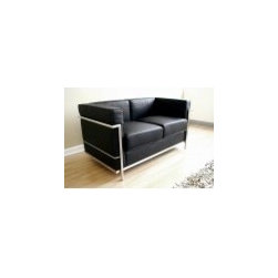 Designer Chaise - Buy Black Le Corbusier Petite Loveseat from  http://www.interiortradefurniture.com/designer-furniture/designer-chaise/black-le-corbusier-petite-loveseat.html