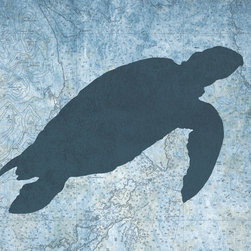One Red Buffalo - Sea Turtle I - The perfect wall decor for coastal character with a bold, graphic silhouette of ocean wildlife on a subtle vintage ocean chart background.