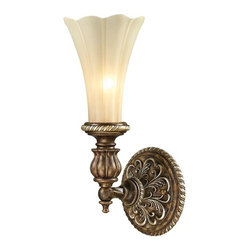 Elk Lighting - Elk Lighting 11550/1 Allesandria Traditional Wall Sconce - Elk Lighting 11550/1 Allesandria Traditional Wall Sconce in Burnt Bronze/Weathered Gold Leaf. The Alessandria collection features majestic open work detailing in the French baroque style. The frame has a multi-step finish of burnt bronze with weathered gold leaf accents. The scalloped glass displays an elegant tapered shape with an antique amber finish.