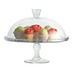 Home Essentials - Sweet Glass Cake Plate with Dome - Show off the quality and freshness of your playfully decorated cakes, pies, cupcakes, and muffins with our attractive glass footed cake plate with dome. Exceptional in quality and style, our classic cake plate creates a beautiful presentation while leaving guests with a lasting impression. Delight your hostess by presenting this charming cake stand as a gift or present on birthdays and holidays.