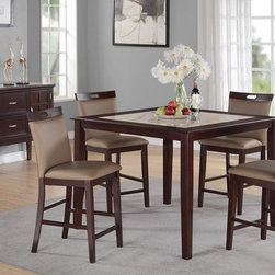 POUNDEX Furniture - 5 Piece Square Counter Height Dining Table Set with Saddle C - Set includes 1 Dining Table and 4 Dining Chairs