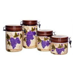 """Home Essentials - Tuscan Grape Ceramic Canister Set - Storage becomes an essential part of your home decor with our charming and attractive grape designed canisters! Both functional and beautiful, our canister set is ideal for storage of kitchen staples and will spice up any kitchen or living room with culinary style. They offer a chic yet refined look to your modern interiors and seal the freshness of your food with their tight sealing lids. The rich, colorful grapes and texture of our canister set transports you to Tuscany with each amazing meal.                       * Set of 4,      * Gift boxed    * Material: ceramic           * Dimensions: Small: H: 5"""" D: 5.1"""" Medium: H: 6"""" D: 5.1"""" Large: H: 7.8"""" D: 5.1"""" Extra large: H: 9"""" D: 5.1"""""""