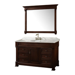 "Wyndham Collection - Wyndham Collection 55"" Andover Single Sink Bathroom Vanity Set in Dark Cherry - A new edition to the Wyndham Collection, the beautiful Andover bathroom vanity series represents an updated take on traditional styling. The Andover is a keystone piece, with strong, classic lines and an attention to detail. The vanity and solid marble countertop are hand carved and stained. Available in Black and Dark Cherry finishes to match any decor. Available in a range of single or double vanity sizes to fit any bathroom."