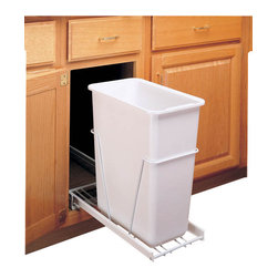 """Rev-A-Shelf - Rev-A-Shelf RV-9PB Single 30 Qt. Pullout Waste Container - White - Are you looking to get rid of clutter and clean up your kitchen? Need a trash can that will not only hold a lot of garbage but will not take up too much space? Well this Pullout Waste Container may be precisely what you're looking for. This pullout cabinet organizer installs inside your cabinet and slides out to reveal a 30 quart white wastebasket, not only freeing up space in your kitchen, but looking nice to boot. Additionally, the drawer itself is well constructed, featuring a heavy-duty wire frame. The Rev-a-Shelf RV-9PB cabinet organizer also includes four screws for easy installation. If you are looking to spruce up your kitchen and free up space, this pullout waste unit is exactly what you need. Size Specifications: 9-1/2"""" W x 22"""" D x 19-1/4"""" H. Please make sure your cabinet has a minimum opening of at least 9-5/8"""" W x 22-1/8"""" D x 19-3/8"""" H to ensure a proper fit."""
