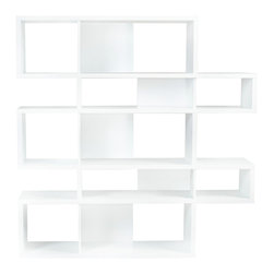 Temahome - London Composition 2010-002, Pure White Frame, Pure White Backs - The London modular bookshelf presents a charismatic, yet truly functional product that can be set against a wall or used as a room divider. With multiple color options you can choose a shelf to be completely in one finish or else contrast the finishes so that the backs and dividers are different from the frame.  Available in three heights, the London is versatile for every sort of interior,  and you can set your imagination free and adapt this piece to create the desired ambiance.