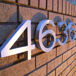 FOUR-SIX-THREE-SIX - 6 inch high 3/4 inch deep hollow stainless house numbers in the Engravers Gothic font.