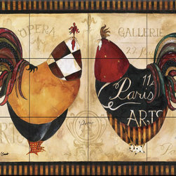 The Tile Mural Store (USA) - Tile Mural - Roosters De Paris I - Kitchen Backsplash Ideas - This beautiful artwork by Jennifer Garant has been digitally reproduced for tiles and depicts two roosters in paris.  Our kitchen tile murals are perfect to use as part of your kitchen backsplash tile project. Add interest to your kitchen backsplash wall with a decorative tile mural. If you are remodeling your kitchen or building a new home, install a tile mural above your stove top or install a tile mural above your sink. Adding a decorative tile mural to your backsplash is a wonderful idea and will liven up the space behind your cooktop or sink.