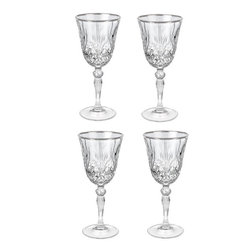 "Lorren Home Trends - Reagan Collection Set of 4 Crystal Red Wine Glass with silver band design - Set of 4 Crystal Red Wine Glass set with a silver band design, by Lorren Home Trends DaVinci Line.  The Reagan Collection features an elegant lead free cut crystal design with a brilliant silver band for a luxurious look.  Made in the Tuscan region of Italy. Each glass measures 3.25"" x 3.25"" x 7.75"" tall and holds 7.5 ounces of your favorite beverage.   Hand Wash."