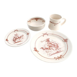 Sky Ranch - Sky Ranch Western Dinnerware Set 16 Pc - This Sky Ranch vintage design 16 piece western dinnerware set from our Texas Dinnerware collection includes four 4 piece place settings of: 7 3/4 inch salad plates (shows cowgirl on bucking horse), 4 inch 16 oz. large coffee mugs (shows longhorn and branding irons), 16 oz. soup chili bowls (shows longhorn and branding irons), and 11 inch dinner plates (shows cowboy on bucking horse).