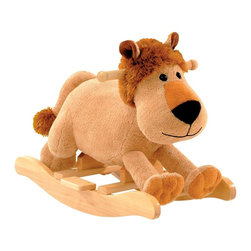 "Charm Co. - Leonard Lion Rocker with Sound - Leonard the plush rocking lion will melt your heart with his super soft plush body that has the feel of a baby blanket and his fuzzy mane and tail. He features cute button eyes and a soft smile. His low to the ground design is great for toddlers so they can easily climb on and off. Squeeze his ear to hear him ""roar"", this feature requires 2AA batteries (not included)."