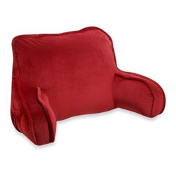 Brentwood Originals - Plush Backrest in Red - Brightly colored this backrest will be a fun addition to any bed. There's a pocket for storing iPods or iPhones, and it's nice and plump for a comfortable feel.