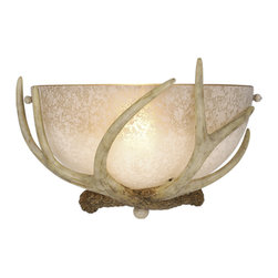 Vaxcel - Vaxcel Lodge Wall Sconce w/ French Scavo Glass - Lodge Wall Sconce w/ French Scavo Glass