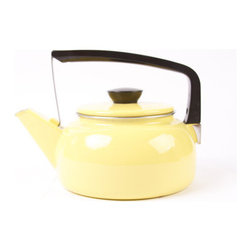 Enamel Teakettle, Yellow by Yesterday & Today - I love the look of this vintage teakettle in a beautiful yellow enamel with a chrome and black handle.