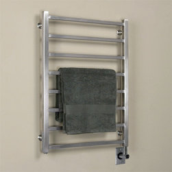 """24"""" Miletos Stainless Steel Hardwired Towel Warmer - Turn your bath into a spa experience with the Stainless Steel Miletos Hardwired Towel Warmer. This luxury towel warmer features a sleek square rail design and a premium heating element insuring even and lasting heat for your towels."""
