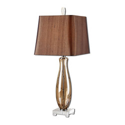 Uttermost - Gattis Amber Glass Table Lamp - Warm amber glass with dark bronze veining accented with a crystal foot and matching finial. The slightly tapered square hardback with curved corners shade is a silken chocolate bronze fabric with black slubbing.