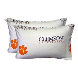 College Covers - NCAA Clemson Tigers Pillowcases Two-Pack White Set - Features: