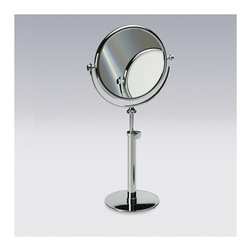 "Windisch by Nameeks - 16.2"" Free Standing 3X Magnifying Mirror - Start with this decorator makeup magnifying mirror. Free-standing and available in chrome, satin nickel, or gold, this brass magnified mirror is best in a contemporary & modern bath. Features: -Double face magnifying mirror. -3x magnification. -Available in chrome, rustic gold, satin nickel and gold finishes. -Brass and glass construction. -Free standing. -Height adjustable. -Overall dimensions: 16.1"" - 21.7"" H x 7.3"" W x 7.3"" D."