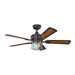 """Ballard Designs - Mason Ceiling Fan - Bring equal parts comfort and style to a room. Reversible 52"""" blades are precisely angled for superior air movement in cool or warm temperatures. Clear seedy glass shade exposes three bulbs for ample light.Mason Ceiling Fan features:Blades reverse to dark cherry/light cherry finish. 3-speed cool touch. Housing & bar detail crafted of metal."""