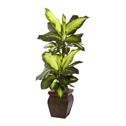 Nearly Natural - Nearly Natural 45-inch Golden Dieffenbachia Decorative Plant - This striking Golden Dieffenbachia stands a full 45 inches high,and is fixed in a handsome decorative planter. An ideal accent plant for any home or office,it offers a unique,'leafy' look that only a Golden Dieffenbachia can bring.