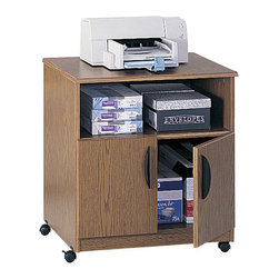 Safco - Safco Mobile Stand in Medium Oak - Safco - Printer Stands - 1850MO -This mobile office machine/supply cart is ideal for office equipment, TV/VCR set-ups and more. Lightweight yet durable with a medium oak laminate finish, this wheeled office stand features a deep open shelf and 2-door utility cabinet. Swivel wheel casters offer freedom of movement and include a locking function for location stability when required.