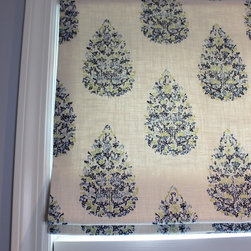 Custom Window Treatments by Lynn Chalk - This roman shade is made in a John Robshaw fabric by Duralee 21040.  It comes in several colors.  This is color Blue/Green.