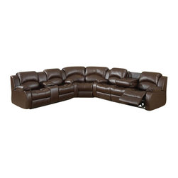 "ACPSamara - 3 pc Samara chocolate bonded leather sectional sofa with recliners on the ends - 3 pc Samara chocolate bonded leather sectional sofa with recliners on the ends and overstuffed arms and backs. This set features a sofa with recliners on the ends with overstuffed arms and backs and love seat with center console and recliners on the ends. sofa measures 88"" x 39"" x 40"" H. love seat measures 77"" x 39"" x 40"" H. Corner wedge measures 69"" x 39"" x 40"" H. Optional single recliner also available separately and at additional cost and measures 41"" x 39"" x 40"" H. Some assembly required."