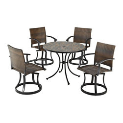 HomeStyles - Stone Harbor 5PC Dining Set with Newport Swiv - Powder-coated steel. Synthetic-weave is both moisture and weather resistant. Nylon glides on legs for stability. 2-inch umbrella opening. Table Dimensions: 39.5 in. W X  39.5 in. D X  30 in. H . Chair Dimensions: 24.5 in. W X  24.5 in. D X  36 in. HCreate a tranquil and majestic atmosphere with The Stone Harbor 5PC Dining Set. The table top is constructed of small, square, hand-applied slate tiles in a naturally occurring gray variation; no two tables alike; featuring a center opening that can be used for an umbrella or can be closed with the included black cap for a continuous surface.  The cabriole designed base is constructed of powder coated steel in a Black finish.  The Newport Swivel Chairs features a two-tone walnut brown CycropleneTM, synthetic-weave, seat and back over a powder-coated steel frame in a black finish. The synthetic-weave is both moisture and weather resistant and required very little maintenance.  Adjustable, nylon glides prevent damage to surface caused by movement and provide stability on uneven surfaces.  Chairs feature ball bearing 360 degree swivel. Seat height measures 18 inches high.  Set includes dining table and four swivel chairs. Table Size: 39.5w 39.5d 30h. Chair Size: 24.5w 24.5d 36h.