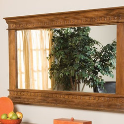 """Classic Home Furniture - Montecito Mirror 60"""" - 56001510 - The dark mahogany finish of the half trunk, combined with the old fashioned metal bands, hark back to a day when trains ran on time and romance was in the air."""