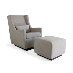 Gus Sparrow Gliders - A modern glider with ergonomic proportions. The wool fabrics available for upholstery are functional and comfortable.